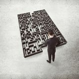 Businessman and labyrinth Royalty Free Stock Images