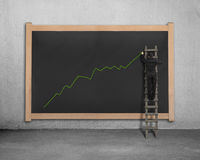 Businessman on ladder drawing growing green arrow trend Stock Images
