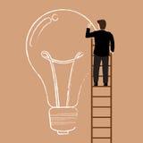 Businessman on the ladder drawing lightbulb idea Stock Photography