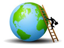 Businessman Ladder Earth. An illustration featuring a businessman with briefcase climbing up a ladder placed against the Earth Royalty Free Stock Images