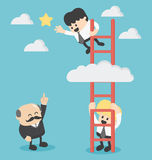 Businessman on a ladder grab the star Royalty Free Stock Photography