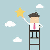 Businessman on a ladder grab star in the sky. Vector illustration Royalty Free Stock Photo