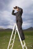 Businessman On Ladder Looking Through Binoculars Stock Photography