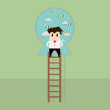 Businessman on  ladder to the success Royalty Free Stock Photo