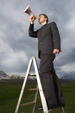 Businessman On Ladder Using Megaphone In Field Royalty Free Stock Photo
