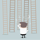 Businessman Ladders Decision Stock Images