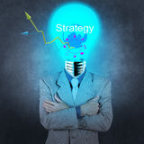 Businessman with lamp-head as business strategy success concept Royalty Free Stock Photo