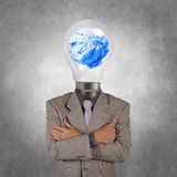 Businessman with lamp-head Royalty Free Stock Photo