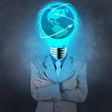 Businessman with lamp-head as social network concept Stock Images