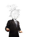 Businessman with lamp head Stock Photography