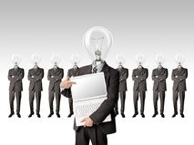 Businessman with lamp-head have got an idea Stock Photography