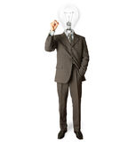 Businessman with lamp-head and marker. Writting something on glass writeboard Stock Photo