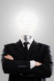 Businessman with lamp instead head Royalty Free Stock Photos