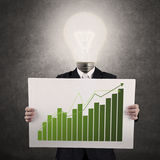 Businessman with lamp-head showing graph Royalty Free Stock Photos