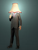 On. Businessman with lamp shade and pull switch Royalty Free Stock Images