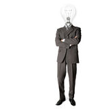 Businessman with lamphead. Businessman with lamp-head have got an idea Royalty Free Stock Image