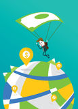 Businessman landing to the big money pin with banknote parachute Stock Photos