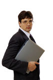 Businessman with laptop. On the white background Stock Photo