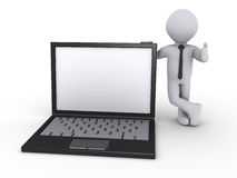Businessman with laptop. Happy 3d businessman holding a laptop Royalty Free Stock Image