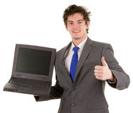 Businessman with a laptop Stock Image