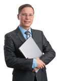 Businessman with a laptop Stock Photos