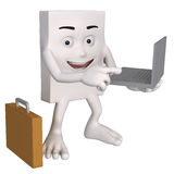 Businessman with laptop. 3d square shaped businessman with laptop computer and briefcase, white background Royalty Free Stock Photos