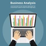 Businessman with laptop analyzes data. Analysis concept, flat design. Vector illustration Royalty Free Stock Photos
