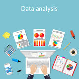Businessman with laptop analyzes data. Analysis concept flat design. Process research financial growth statistics, data analysis, document, market, strategic Stock Photos