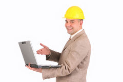A Businessman with laptop computer Stock Image