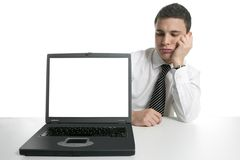 Businessman with laptop computer, bad news Stock Photo