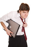 Businessman with laptop in crisis. Royalty Free Stock Images