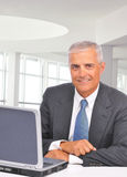 Businessman With laptop at Desk royalty free stock photos