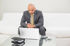 Businessman with laptop and diary at home. Serious elegant young businessman looking at laptop with diary on table at home Royalty Free Stock Images