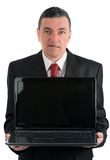 Businessman with a laptop isolated on white background Stock Image
