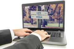 Businessman on Laptop for Life and Work Concept Stock Image