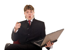 Businessman with laptop in office. Royalty Free Stock Photo