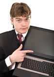 Businessman with laptop in office. Royalty Free Stock Photos