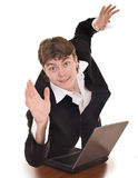 Businessman with laptop in office. Stock Photo