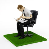 Businessman with a laptop on piece of green garass Royalty Free Stock Photo