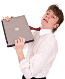 Businessman with laptop in shirt. Stock Photography