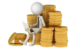 Businessman with laptop sitting on stack of coinss Royalty Free Stock Image