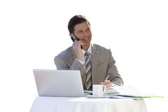 Businessman with laptop talking on cell phone Royalty Free Stock Images