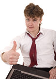 Businessman and laptop with thumb up speak super. Isolated stock photos