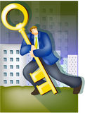 Businessman with large key Stock Photography