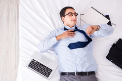 The businessman late for this flight in hotel Royalty Free Stock Image