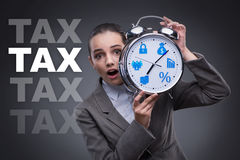 The businessman in late taxes payment concept Stock Photo