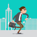Businessman Late for Work. Man Hurry to Work. Vector illustration stock illustration