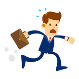 Businessman Late For Work. Vector stock of a businessman late for work holding briefcase panic and run vector illustration