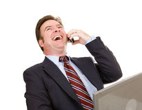 Businessman Laughing on Phone Stock Images