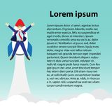 Businessman Launching Into Sky By Rocket With Text. Business Concept As A Happy Businessman Is Attached To A Rocket Launching Into The Sky With Text. It Means Stock Photo